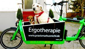 Ergotherapie Praxis Darmstadt Fahrrad mit Therapiehunden