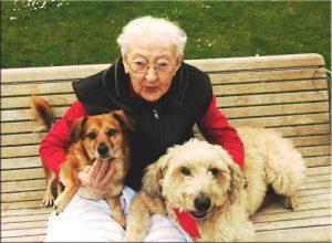 Ergotherapie Praxis Darmstadt Therapiehunde Marie und Oscar wahrend einer Therapie